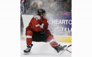 Kevin Fiala blowing a tire in a game against Denmark