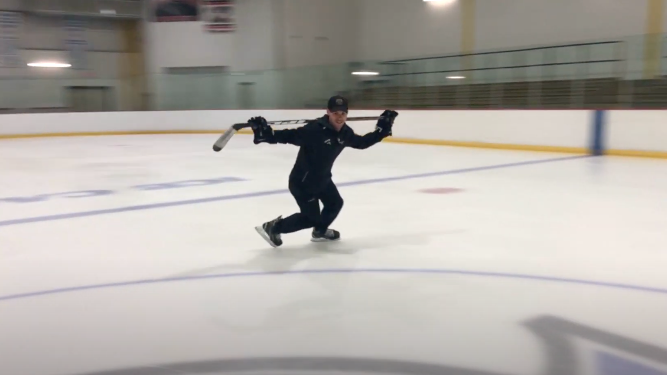 Smooth Crossovers with Stick Across Shoulders | Power Skating Tips and Drills to Improve Forward Crossovers | Hockey Players Club Blog