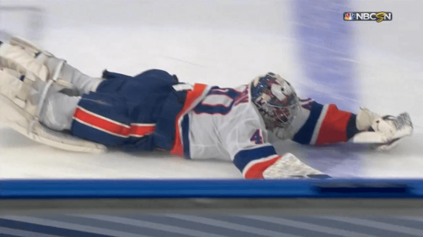 Varlamov does headfirst dive to celebrate Islanders' 2OT win
