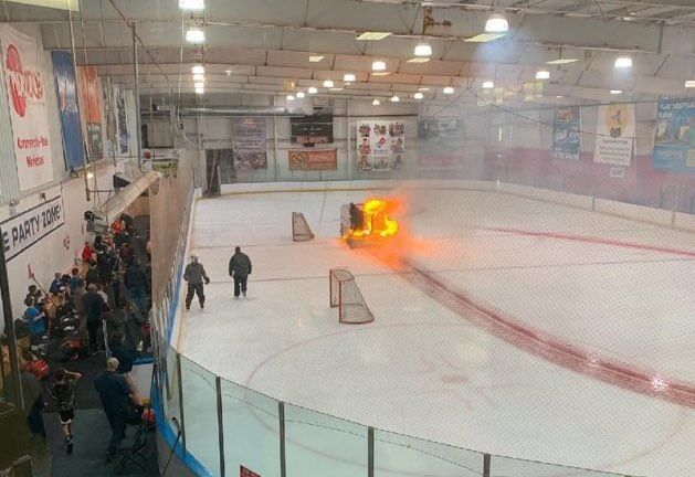 Zamboni Catches Fire, Driver Continues Cutting Ice Like Real Life Ghost Rider