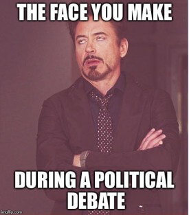 Political debate on hockey bench