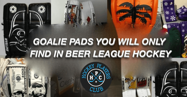Goalie pad you will only find in beer league hockey