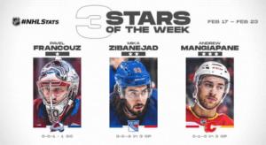 Francouz, Zibanejad, and Mangiapane named NHL 3 Stars of the Week Hockey Players Club Podcast Season 2 Episode 17 HPC Blog