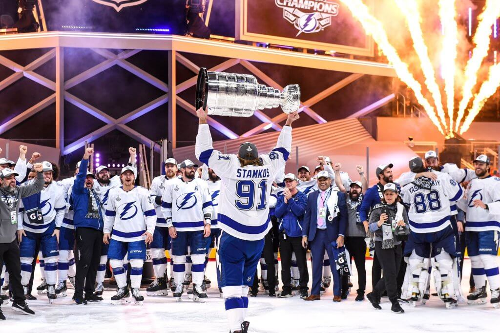 Steven Stamkos celebrates with teammates.  Epic Scenes from the Tampa Bay Lightning's Legendary Stanley Cup Celebration. Epic Scenes from the Tampa Bay Lightning's Legendary Stanley Cup Celebration
