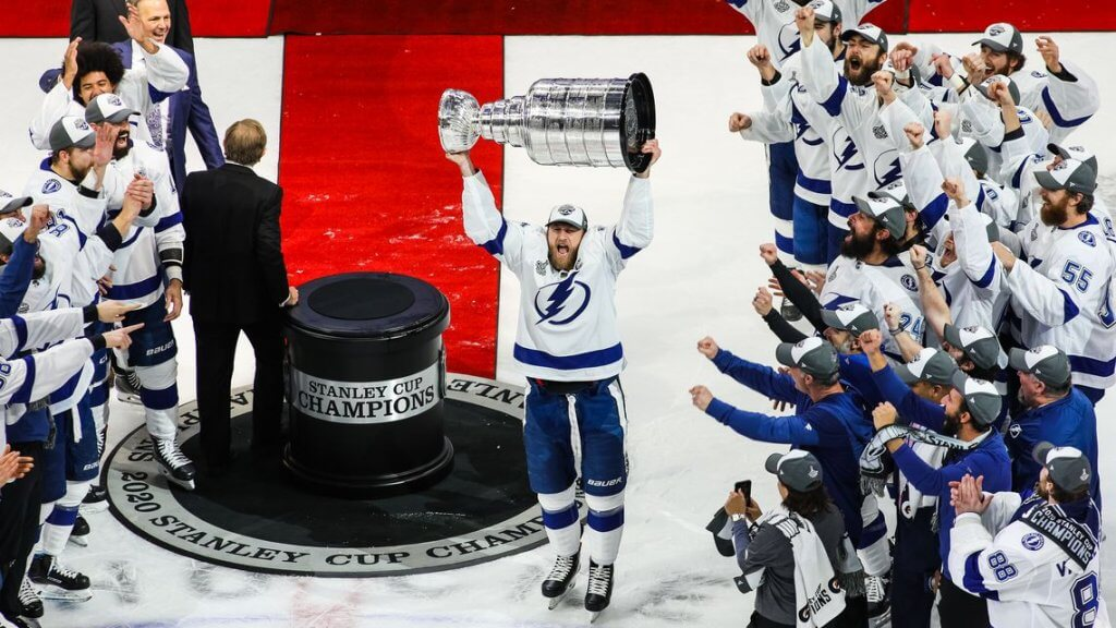 Steven Stamkos hoists the Stanley Cup. Epic Scenes from the Tampa Bay Lightning's Legendary Stanley Cup Celebration